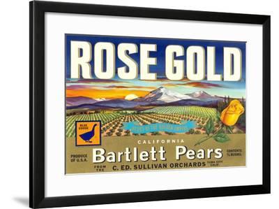 Rose Gold Pear Crate Label--Framed Art Print