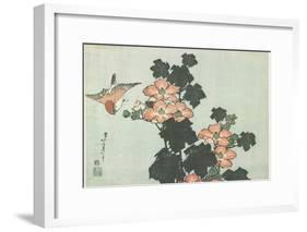 Rose Mallow and Sparrow, C. 1832-Katsushika Hokusai-Framed Giclee Print