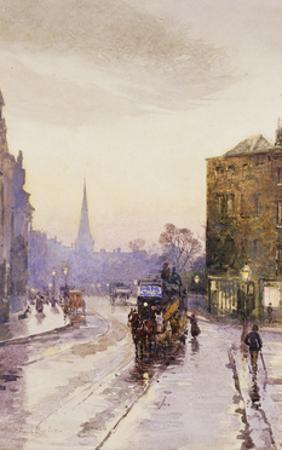 Catching the Tram in Nassau Street, Dublin