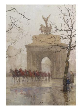 Hyde Park Corner, with Household Cavalry, 1918
