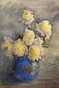 Peonies in a Blue Vase by Rose Maynard Barton