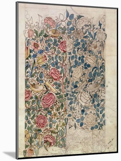 Rose' Wallpaper Design (Pencil and W/C on Paper)-William Morris-Mounted Premium Giclee Print