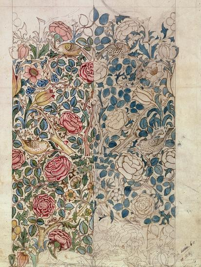 Rose' Wallpaper Design (Pencil and W/C on Paper)-William Morris-Giclee Print