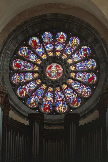 Rose Window and Stained-Glass Window, Cathedral of Notre-Dame--Giclee Print