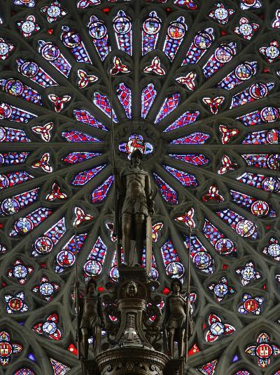 Rose Window and Statue of St. Maurice Above the Organ, St. Gatien Cathedral, Tours, Indre-Et-Loire-Godong-Photographic Print