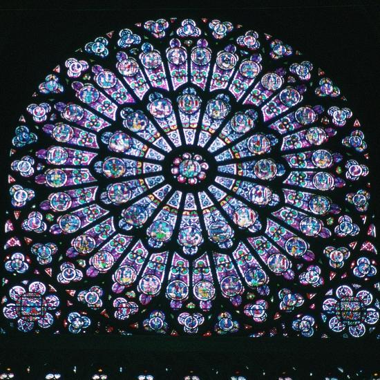 Rose window in Notre Dame, 14th century. Artist: Unknown-Unknown-Giclee Print