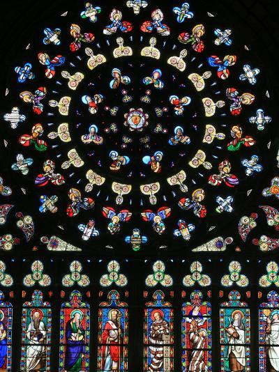 Rose Window in Notre-Dame-Des-Carmes Church, Pont-L'Abbe, Pont-L'Abbe, Finistere, France, Europe-Godong-Photographic Print