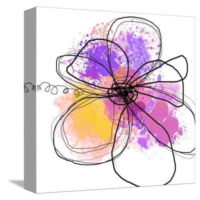 Rose Yellow Abstract Brush Splash Flower I-Irena Orlov-Stretched Canvas Print