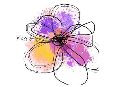 Rose Yellow Abstract Brush Splash Flower I-Irena Orlov-Art Print