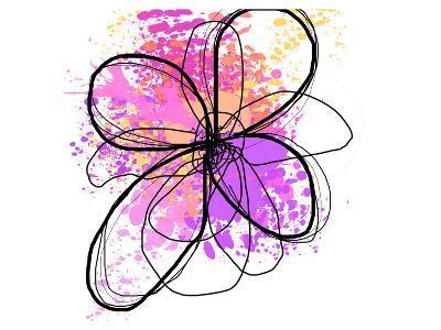 Rose Yellow Abstract Brush Splash Flower II-Irena Orlov-Art Print