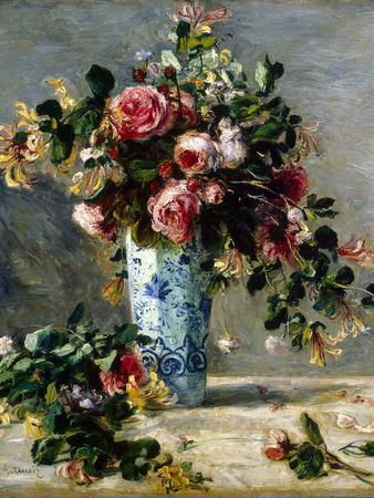 Roses and Jasmine in a Delft Vase, 1880-1881-Pierre-Auguste Renoir-Giclee Print