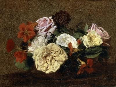 Roses and Nasturtiums in a Vase, 1883-Henri Fantin-Latour-Giclee Print