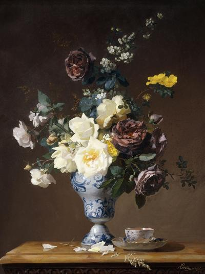 Roses and Other Flowers in a Blue and White Vase and a Teacup on a Ledge, 1876-Francois Rivoire-Giclee Print