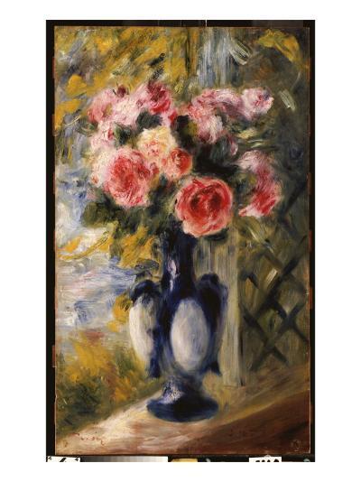 Roses in a Blue Vase, 1892-Pierre-Auguste Renoir-Giclee Print