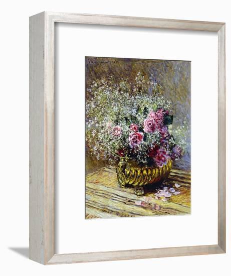 Roses in a Copper Vase, 1878-Claude Monet-Framed Premium Giclee Print