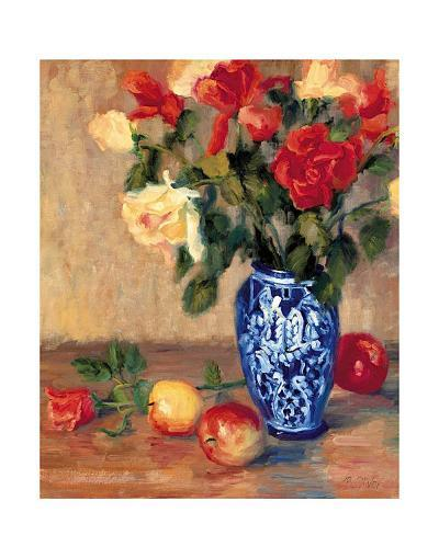 Roses in a Mexican Vase-B^ Oliver-Art Print