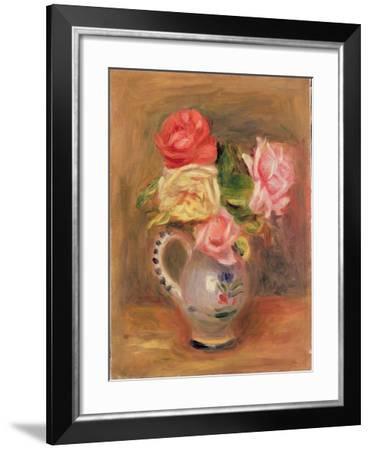 Roses in a Pottery Vase-Pierre-Auguste Renoir-Framed Giclee Print