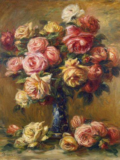 Roses in a Vase, C1910-Pierre-Auguste Renoir-Premium Giclee Print