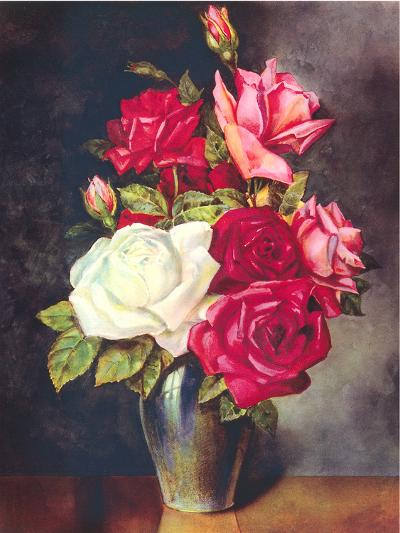 Roses In Vase-Found Image Press-Art Print