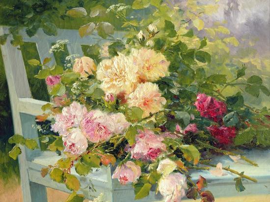 Roses on the Bench-Eugene Henri Cauchois-Giclee Print
