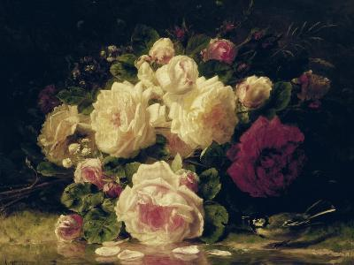 Roses with a Blue Tit by a Stream-Jean Baptiste Claude Robie-Giclee Print