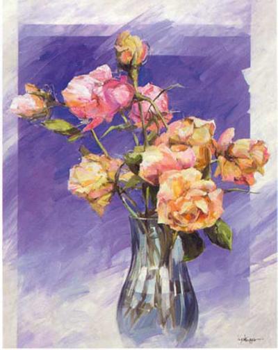 Roses with a Blue Vase-I^ Kupper-Art Print