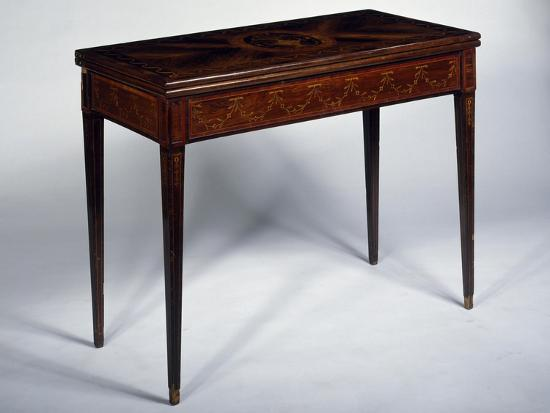 Rosewood Games Table with Inlays, Medallions and Garlands, Spain--Giclee Print