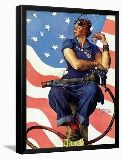 """""""Rosie the Riveter"""", May 29,1943-Norman Rockwell-Framed Stretched Canvas Print"""