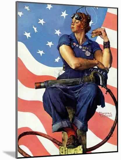 """""""Rosie the Riveter"""", May 29,1943-Norman Rockwell-Mounted Premium Giclee Print"""