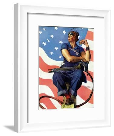 """""""Rosie the Riveter"""", May 29,1943-Norman Rockwell-Framed Giclee Print"""