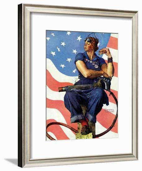 """Rosie the Riveter"", May 29,1943-Norman Rockwell-Framed Giclee Print"