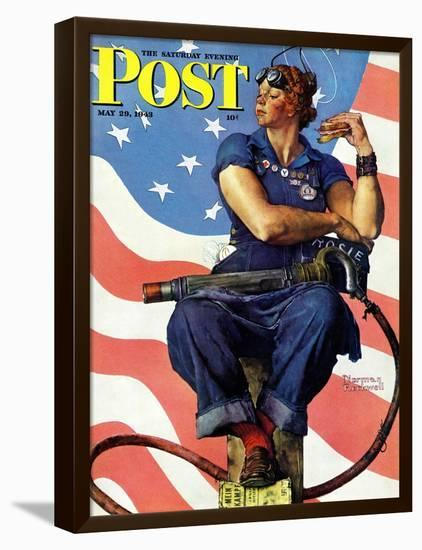 """Rosie the Riveter"" Saturday Evening Post Cover, May 29,1943-Norman Rockwell-Framed Stretched Canvas Print"