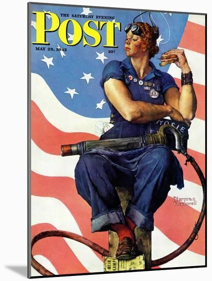 """""""Rosie the Riveter"""" Saturday Evening Post Cover, May 29,1943-Norman Rockwell-Mounted Premium Giclee Print"""