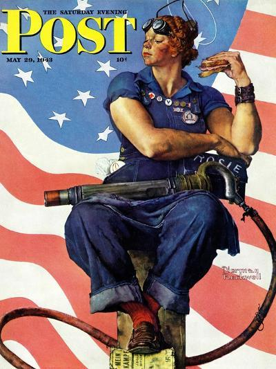 """""""Rosie the Riveter"""" Saturday Evening Post Cover, May 29,1943-Norman Rockwell-Giclee Print"""