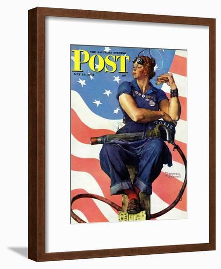 """""""Rosie the Riveter"""" Saturday Evening Post Cover, May 29,1943-Norman Rockwell-Framed Giclee Print"""