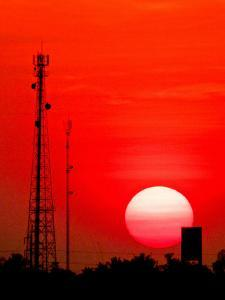 Urban Sunset and Radiostation Tower Silhouettes by Rosita So Image