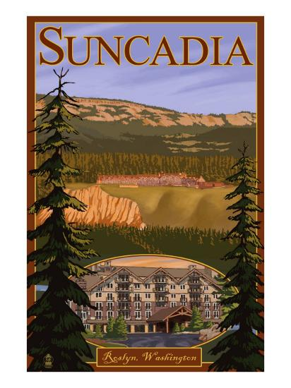Roslyn, Washington, Suncadia Resort Scene-Lantern Press-Art Print