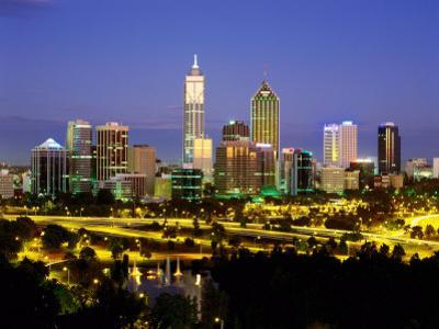 City Skyline with Central Business District at Dusk, Perth, Western Australia