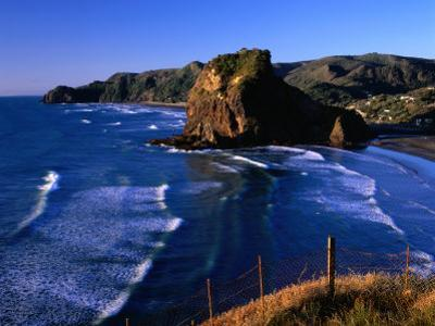 Coastline at Piha Dominated by Lion Rock, New Zealand