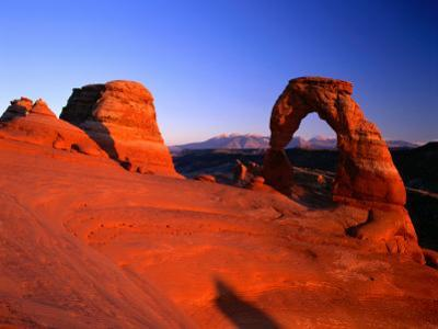 Delicate Arch and Surrounding Slick-Rock with La Sal Mountains in Distance, Utah