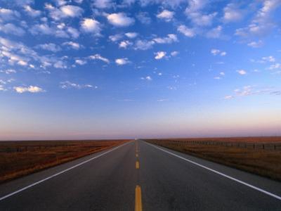 Highway 36 at Dusk, Alberta, Canada