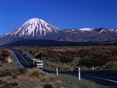 Rangipo Desert with Snow Capped Mount Ngauruhoe in Background, Manawatu-Wanganui, New Zealand
