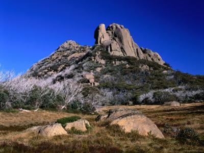 Two Rocky Hills Loom over Blackfellows Plain on the Buffalo Plateau, Victoria, Australia