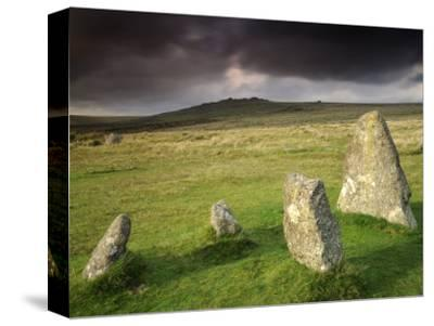 Merrivale Stone Row, Stormy Evening, Dartmoor Np, Devon, Uk. September 2008