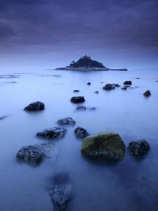 St Michael's Mount at Sunrise, from Marazion Beach, Cornwall, Uk. November 2008 by Ross Hoddinott