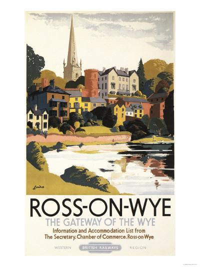 Ross-on-Wye, England - River Scene of Town British Railways Poster-Lantern Press-Art Print