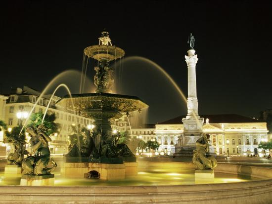 Rossio Square (Dom Pedro Iv Square) at Night, Lisbon, Portugal, Europe-Yadid Levy-Photographic Print