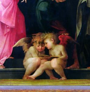 Two Cherubs Reading, Detail from Madonna and Child with Saints, 1518 by Rosso Fiorentino (Battista di Jacopo)