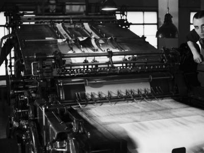 Rotary Press in the Newspaper Printing Facility of the Daily Il Resto Del Carlino of Bologna-A^ Villani-Photographic Print