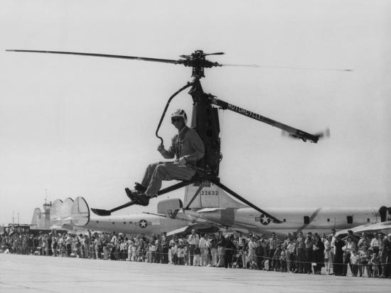 Rotocycle, 250-Pound Collapsible, One-Man Helicopter in Demonstration  Flight in 1957-58 Photo by   Art com